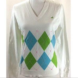 Lilly Pulitzer argyle M sweater soft thin knit